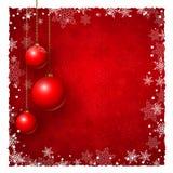 Fondo de la Navidad con las chucherías y los copos de nieve Imagen de archivo