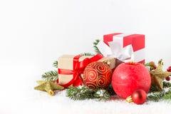 Fondo de la Navidad con las decoraciones Imagen de archivo libre de regalías