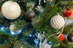 Fondo de la Navidad con las decoraciones Foto de archivo