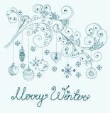 Fondo de la Navidad con las decoraciones lindas y los elementos florales Foto de archivo libre de regalías
