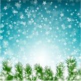 Fondo de la Navidad con las estrellas y las luces stock de ilustración
