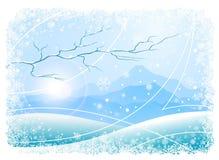Fondo de la Navidad con las montañas y el árbol Foto de archivo