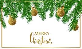 Fondo de la Navidad con las ramas de árbol de abeto, las bolas brillantes de oro y los arcos Ilustración del vector ilustración del vector