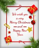 Fondo de la Navidad con las ramas y el marco del abeto libre illustration
