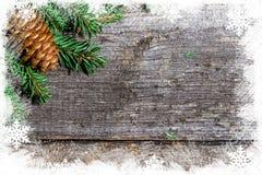 Fondo de la Navidad con las ramas y los topetones del abeto Imagenes de archivo