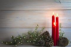 Fondo de la Navidad con las velas y un espacio para el texto Foto de archivo