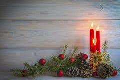 Fondo de la Navidad con las velas y un espacio para el texto Imagen de archivo libre de regalías