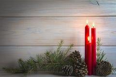 Fondo de la Navidad con las velas y un espacio para el texto Imagen de archivo