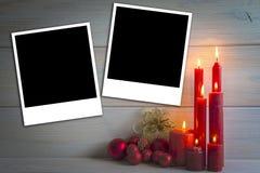 Fondo de la Navidad con las velas y un espacio para el texto Foto de archivo libre de regalías