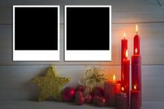 Fondo de la Navidad con las velas y un espacio para el texto Fotografía de archivo libre de regalías