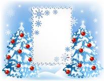 Fondo de la Navidad con los árboles de la piel stock de ilustración
