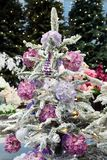 Fondo de la Navidad con los árboles de navidad y las bolas Foto de archivo libre de regalías