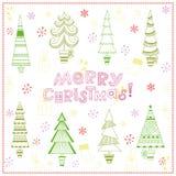 Fondo de la Navidad con los abetos Fotos de archivo