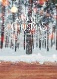 Fondo de la Navidad con los abetos y fondo borroso del invierno con Feliz Navidad del texto y Feliz Año Nuevo Fotografía de archivo libre de regalías
