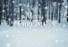 Fondo de la Navidad con los abetos y fondo borroso del invierno con Feliz Navidad del texto y Feliz Año Nuevo Invierno escarchado Foto de archivo libre de regalías