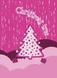 Fondo de la Navidad con los copos de nieve árbol de navidad y presentes Árbol de navidad adornado Nuevo Year& x27; collage de la  Imagen de archivo libre de regalías