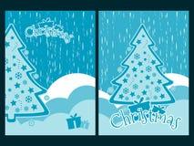 Fondo de la Navidad con los copos de nieve árbol de navidad y presentes Imagenes de archivo