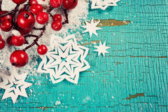 Fondo de la Navidad con los copos de nieve Foto de archivo