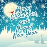 Fondo de la Navidad con los copos de nieve, la luna, las liebres y el pájaro Merr Fotografía de archivo libre de regalías
