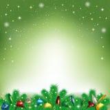Fondo de la Navidad con los copos de nieve y las ramas del Christm Imagenes de archivo