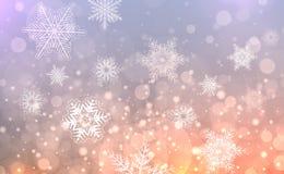 Fondo de la Navidad con los copos de nieve stock de ilustración