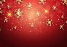 Fondo de la Navidad con los copos de nieve de oro Fotos de archivo libres de regalías