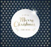 Fondo de la Navidad con los copos de nieve y la etiqueta de la Feliz Navidad Imagen de archivo libre de regalías