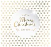 Fondo de la Navidad con los copos de nieve y la etiqueta de la Feliz Navidad Fotografía de archivo