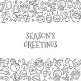 Fondo de la Navidad con los elementos dibujados mano Fotografía de archivo