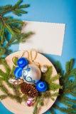 Fondo de la Navidad con los juguetes de la decoración Fotografía de archivo