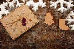 Fondo de la Navidad con los juguetes de madera Imágenes de archivo libres de regalías