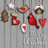 Fondo de la Navidad con los juguetes del fieltro Foto de archivo libre de regalías
