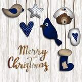 Fondo de la Navidad con los juguetes del fieltro Imagen de archivo libre de regalías