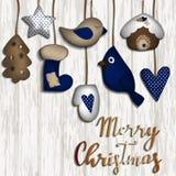 Fondo de la Navidad con los juguetes del fieltro stock de ilustración