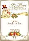 Fondo 2019 de la Navidad con los muñecos de nieve y las decoraciones de la Navidad ilustración del vector