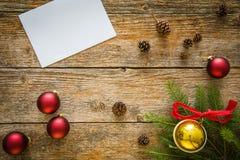 Fondo de la Navidad con los ornamentos Imágenes de archivo libres de regalías