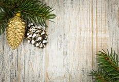 Fondo de la Navidad con los ornamentos en la ramificación Imagen de archivo libre de regalías