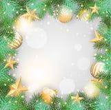 Fondo de la Navidad con los ornamentos y las ramas amarillos Imágenes de archivo libres de regalías