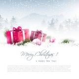 Fondo de la Navidad con los rectángulos de regalo Imagen de archivo libre de regalías