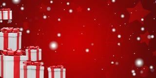 Fondo de la Navidad con los regalos de Navidad y los copos de nieve 3d-illustration ilustración del vector