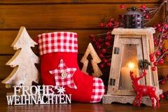 Fondo de la Navidad con la luz y la decoración de la linterna Fotografía de archivo