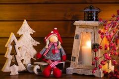 Fondo de la Navidad con la luz y la decoración de la linterna Foto de archivo libre de regalías