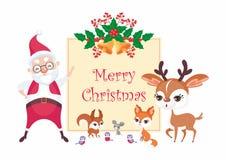 Fondo de la Navidad con santa ilustración del vector