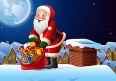 Fondo de la Navidad con Santa Claus que sostiene el bolso de presentes en el top del tejado ilustración del vector