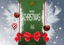 Fondo de la Navidad con la tira y las ramas verdes libre illustration