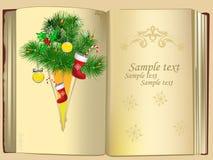 Fondo de la Navidad con un libro agradable de la vendimia Imagen de archivo libre de regalías