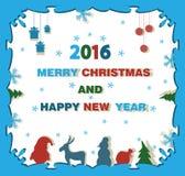 Fondo de la Navidad con un reno, un árbol de navidad y Papá Noel C Fotos de archivo