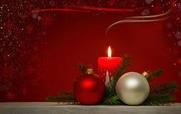 Fondo de la Navidad con la vela ardiente roja Foto de archivo libre de regalías