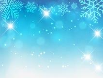 Fondo de la Navidad, copos de nieve de Bokeh, fondo azul, bola roja, fondo del árbol de navidad Fotografía de archivo