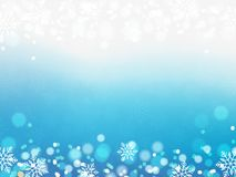 Fondo de la Navidad, copos de nieve de Bokeh, fondo azul, bola roja, fondo del árbol de navidad Imagen de archivo